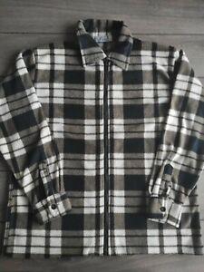 Men's Long Sleeve Zip Polyester Fleece Jacket Oversized L