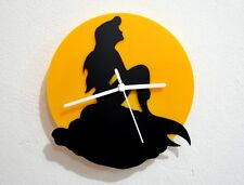 Ariel The Little Mermaid - Black & Yellow Silhouette - Wall Clock