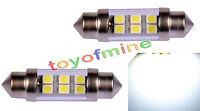 2 Pcs 36mm White 6 SMD 1210 3528 LED Car Festoon Dome Light Lamp Bulb DC 12V New