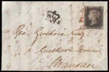 SG2 1840 1d. Black, plate 2, GL. Clear to good margins, on cover, Glasgow to ...