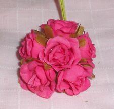 Rose millinery Vintage style 6 silk Fuschia fabric flower pick Alexander dolls