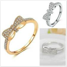 Women Personalized Charm Bow-knot Full Diamond Zircon Ring Jewelry Gift JD