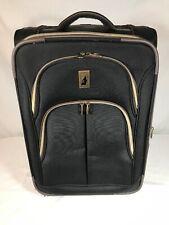 "London Fog 21"" Rolling Carry On Luggage - Black W Brown Trim"