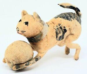 RARE! Antique German Spun Cotton  spotted CAT Christmas Ornament 1900's