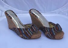 NEW Lunar Multi Coloured Stripe Wedge Mules with Decorative Buckle Size 5/38