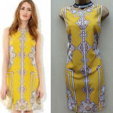 MONSOON Amarillo Ocre Aisha Cóctel Fiesta Vestido Shift oriental 12 Reino Unido