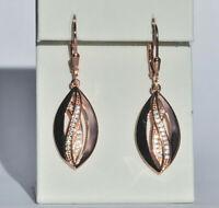 Echt 925 Sterling Silber Ohrringe Zirkonia crystal rosegold Nr 310