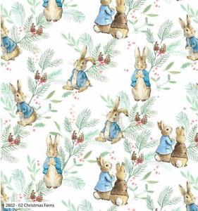 Beatrix Potter Peter Rabbit Christmas Ferns 2802C-02 Cotton Fabric BTY
