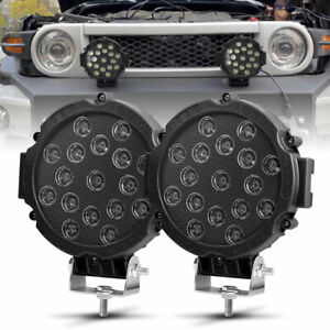 Pair 7inch 51W Black Round LED Work Lights Spot Jeep Truck ATV Driving Offroad