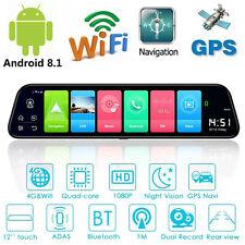 "12"" 4G Android 8.1 Quad Core GPS Nav BT Car DVR Camera Rearview Mirror Dashcam N"