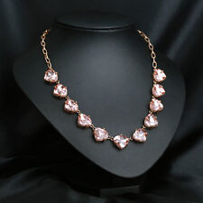 Peach Glass Somervell Statement Necklace Faceted Triangular Crystal Gold Chain