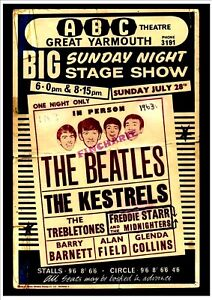 THE BEATLES  METAL SIGN. 28 X 19CM  1963 GREAT YARMOUTH ABC