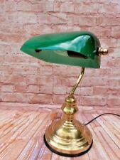 More details for vintage brass & green glass bankers desk lamp