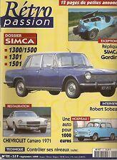 RETRO PASSION 121 SIMCA 1300 1500 1301 1501 SIMCA GORDINI CHEVROLET CAMARO 1971