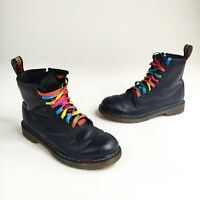Dr. Martens 1460 Rainbow Black Leather Lace Up Ankle Boots Women's Size 3 Stitch