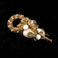 Miriam Haskell Goldtone Gold Color Pin Brooch Beads Milk Glass Cabochon Signed