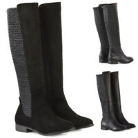 Womens Knee High Boots Flat Low Heel Ladies Stretch Calf Zip Winter Riding Shoes