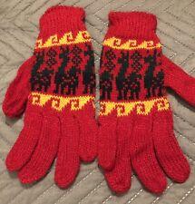 BNWT New Alpaca Wool gloves Ski Snowboard Winter Warm llama pattern red