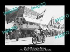 OLD POSTCARD SIZE HONDA MOTORCYCLE RACING PHOTO TANAKA 1962 ITALIAN GRAND PRIX
