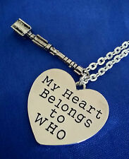 Doctor WHO Pendant Necklace Sonic Screwdriver My Heart Belongs Dr Silver Gift