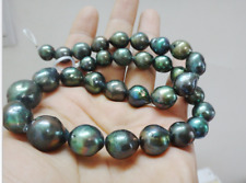 """Huge natural south sea genuine 18""""14x19mm black green nuclear pearl necklace 14k"""