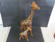 """Vtg 19"""" Leather Covered African Giraffe Mother & Her 9"""" Leather Baby Calf NMMT"""