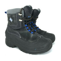 Columbia Boys Omni Heat BY1290-010 Black Blue Leather Winter Boots Lace Up Sz 3