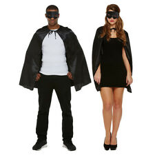Blue Banana Black Superhero Cape & Mask Adult Halloween Fancy Dress Costume