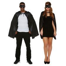 Blue Banana Black Superhero Cape & Mask Adult Halloween Fancy Dress Costume