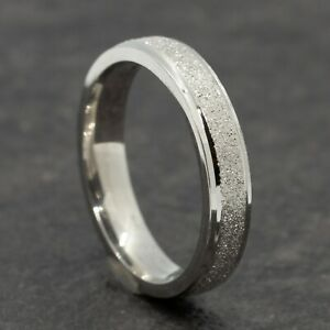 4mm Stainless Steel Silver Sparkle Ring - Mens Women Wedding Band - Sizes H to V