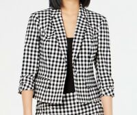 INC Womens Blazer Jacket Black White Size Medium M Gingham One-Button $99 070