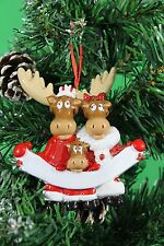 PERSONALISED CHRISTMAS TREE DECORATION ORNAMENT MOOSE FAMILY OF  3