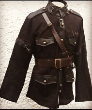 "SDL Steampunk Men's Officers BlK/Jacket Wth Leather Cross Chest Belt 44""Inc"