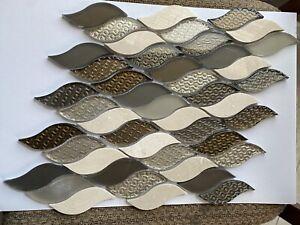 Dorato Glass and Travertine Mix Mosaic Wall Backsplash Accent Tile New Tear Drop