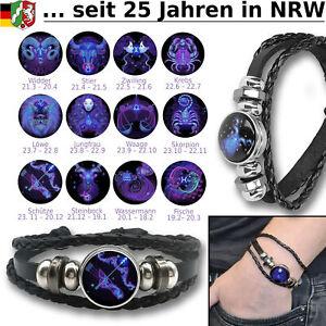 Armband Sternzeichen Leder Schmuck für Herren Damen Unisex Lederarmband Schwarz