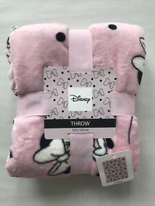 Disney Pink MINNIE MOUSE Soft Fleece Throw Blanket 120x150cm Cosy Primark