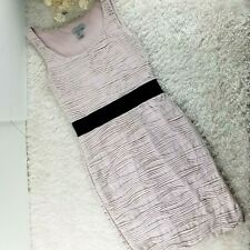 H&M womens baby pink shift dress SIZE XS textured with black waistband (T)