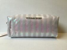 VICTORIA'S SECRET VS STRIPED SEQUIN MAKEUP COSMETIC TRAVEL CASE BAG WHITE NEW