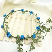 Rose Flower Bride Crown Boho Floral Wreaths Head Hair Band Wedding Party Decor