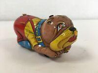 Vintage Antique Tin Toy Roller Bulldog Dog Toy 40s 50s Tinplate