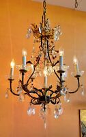 ITALIAN GILDED TOLE CAGE CHANDELIER 6 ARMS 7 LIGHTS, ANTIQUE FACETED CRYSTALS