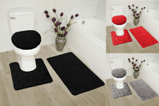 ROCK  EMBOSSED 3PC BATHROOM SET RUG CONTOUR MAT TOILET LID COVER BATHMATS NEW