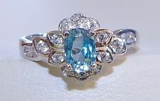 GENUINE/NATURAL 0.89ct! Seafoam Zircon Oval Cut Ring, Solid Sterling Silver 925!
