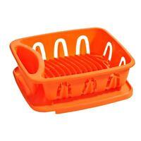 Dish Drainer, Orange Plastic, Removable Tray