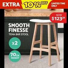 2xTEMA Bar Stools Beech Wood Wooden Barstool Dining Chairs Kitchen Plywood White