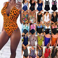 Women One Piece Swimsuit Bikini Push Up Padded Monokini Swimwear Bathing Beach