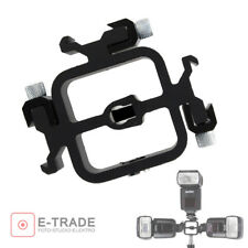Swivel Triple Hot Shoe Mount Adapter Flash Light Stand Umbrella Holder Bracket