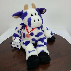 "Vintage Zany Brainy Zamoo Cow Plush 19"" Za Moo Purple White Baby Back Pack Bell"