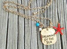 Gold Chain Beach Necklace Dreaming of Sea Coral Bead Starfish Charm Dog Tag