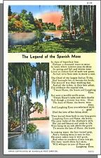 90470: 1940's USA Post Card - The Legend of Spanish Moss - Indian Lore Poem!